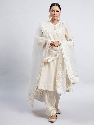 Ivory Chanderi Silk Kurta with Satin Silk Salwar and Organza Dupatta