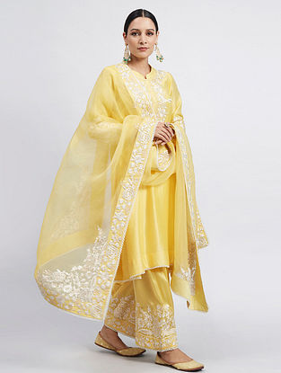 Yellow Chanderi Silk Kurta with Satin Silk Salwar and Organza Dupatta