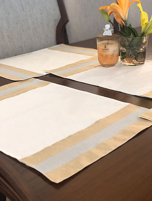 Off White Chanderi Table Mat With Handwoven Zari Border (Set Of 6) (L-19in, W-13in)