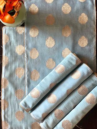 Powder Blue Banarasi Table Mat (Set Of 6) (L-19in, W-13in)