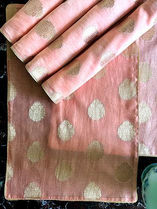 Peach Banarasi Table Mat (Set Of 6)(L-19in, W-13in)