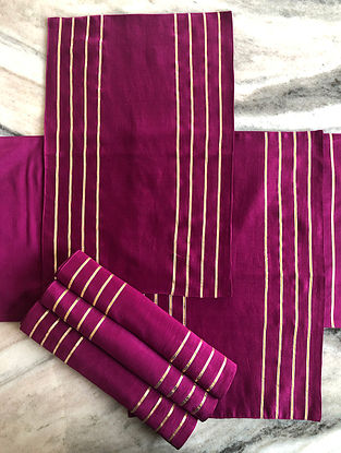 Magenta Chanderi Table Mat (Set Of 6) (L-19in, W-13in)