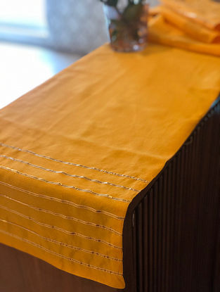 Golden Yellow Chanderi Table Runner With Gota Details (L-70in, W-13in)