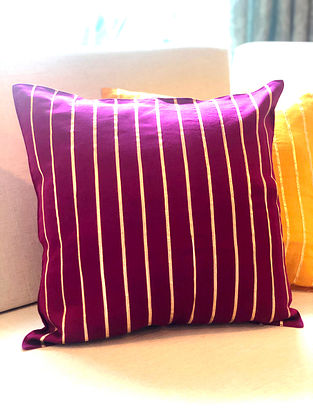 Magenta Chanderi Cushion Cover With Gota Details (L-16in, W-16in)