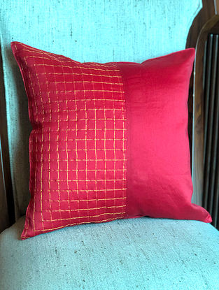 Red Handwoven Chanderi Checks Cushion Cover (L-16in, W-16in)
