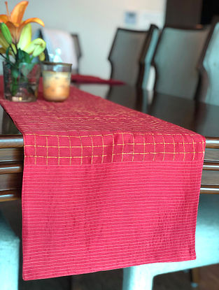 Red Handwoven Chanderi Checks Runner With Stitch Details (L-70in, W-13in)