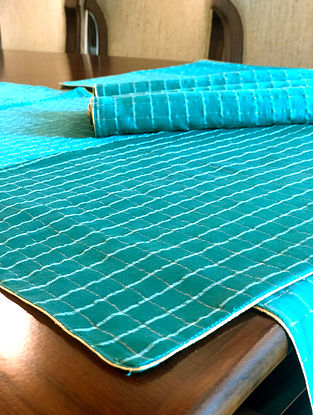 Green Handwoven Chanderi Checks Table Mat (Set Of 6) (L-19in, W-13in)