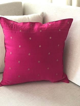 Fuchsia Chanderi Jacquard Cushion Cover (L-16in, W-16in)