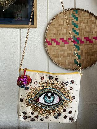 Multicolored Handcrafted Embellished Cotton Sling Bag