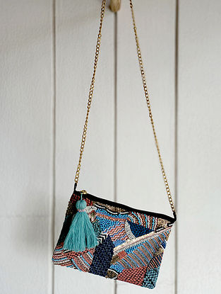 Multicolored Handcrafted Beaded Cotton Sling Bag