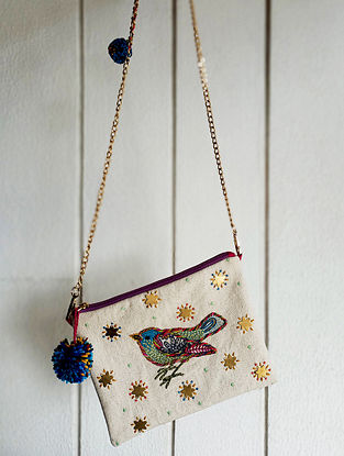 Multicolored Embroidered Beaded Cotton Sling Bag