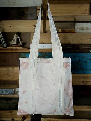 Blush Pink White Tie Dyed Cotton Tote Bag
