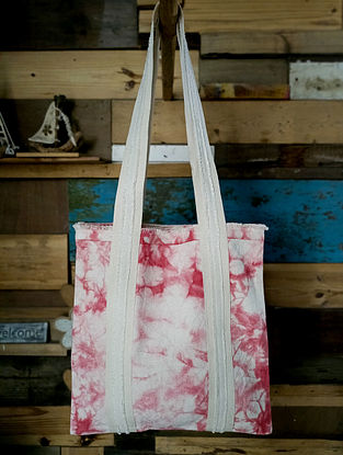 Pink White Handcrafted Tie Dyed Cotton Tote Bag