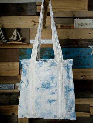 Blue White Handcrafted Tie Dyed Cotton Tote Bag