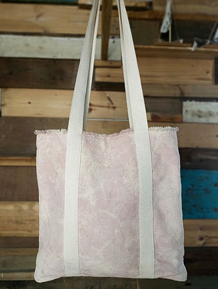 Blush Pink Handcrafted Tie Dyed Cotton Tote Bag