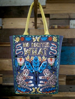 Multicolored Embroidered Sequinned Cotton Tote Bag