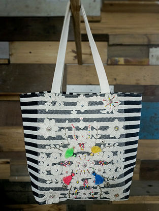 Black White Handcrafted Cotton Tote Bag