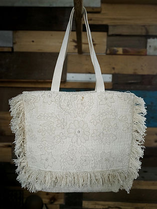 Off White Handcrafted Cotton Tote Bag