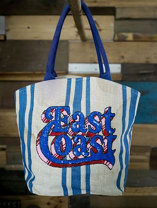 Blue White Handcrafted Sequinned Jute Tote Bag