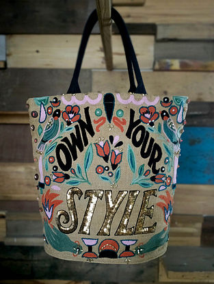 Multicolored Embroidered Sequinned Jute Tote Bag