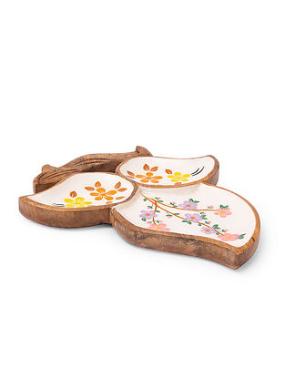 Multicolour Floral Design Wooden Appetizer Platter (L-14.75in, W-11in, H-1in)