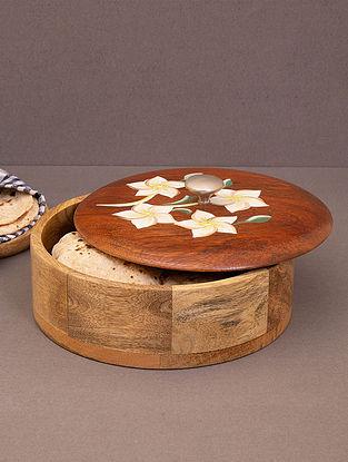 Brown Floral Design Mango Wood Roti Box (L-8in, W-8in, H-3.5in)
