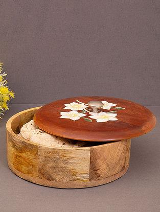 Brown Floral Design Mango Wood Roti Box (Dia-9.5in, H-4.5in)