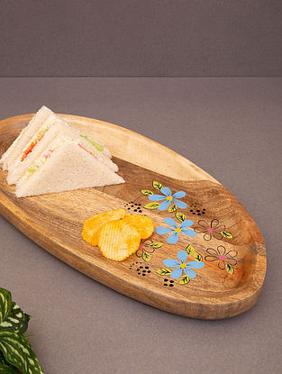 Brown Wooden Handcrafted Serving Platter (L-15.75in, W-8in, H-1.5in)