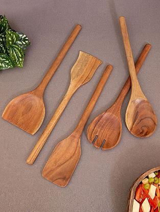 Brown Acacia Wood Spoon (Set of 5) (L-12in, W-3.25in, H-0.5in)
