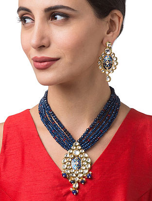 Blue Gold Tone Kundan Beaded Necklace With Earrings