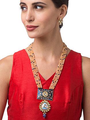 Beige Blue Gold Tone Kundan Enameled Necklace With Earrings