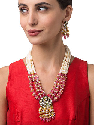Red White Gold Tone Kundan Beaded Necklace With Earrings