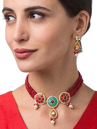 Red Turquoise Gold Tone Kundan Beaded Necklace With Earrings