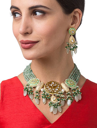 Blue Green Gold Tone Kundan Enameled Necklace With Earrings