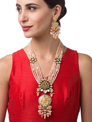 Peach Orange Gold Tone Kundan Beaded Necklace With Earrings
