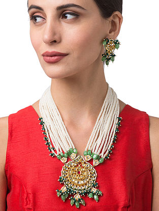 White Green Gold Tone Kundan Beaded Necklace with Earrings
