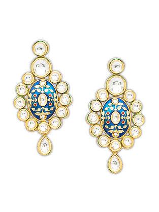 Blue Gold Tone Kundan Enameled Earrings