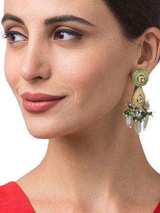 Green Cream Gold Tone Kundan Enameled Earrings
