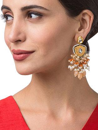 Orange Yellow Gold Tone Enameled Earrings