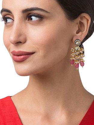 Pink Gold Tone Kundan Earrings