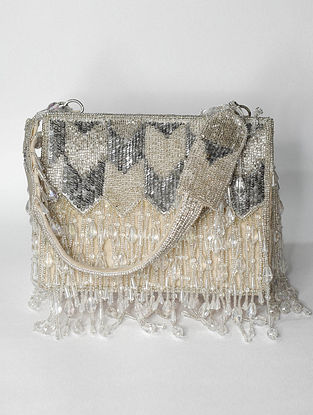 Silver Handcrafted Beaded Suede Clutch