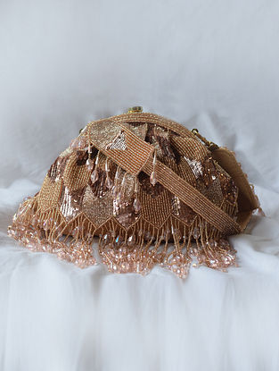 Rose Gold Handcrafted Beaded Suede Clutch