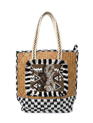 Black White Handcrafted Woven Jacquard Tote Bag