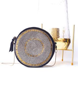 Black Handcrafted Beaded Cotton Velvet Sling Bag
