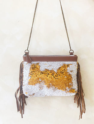 Gold White Handcrafted Sequinned Cotton Leather Sling Bag