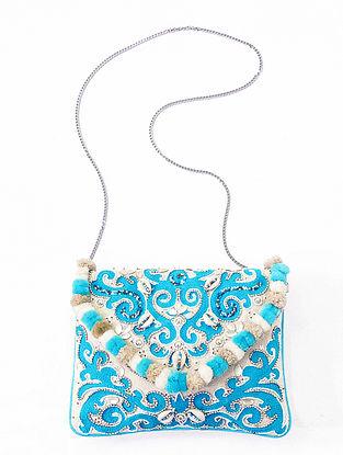 Blue Handcrafted Embellished Canvas Cotton Sling Bag