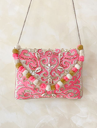 Pink Handcrafted Embellished Canvas Cotton Sling Bag
