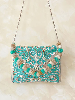 Sea Green Handcrafted Embellished Canvas Cotton Sling Bag