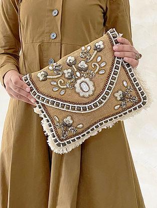 Beige White Handcrafted Embellished Jute Sling Bag