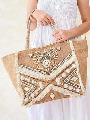 Beige White Handcrafted Embellished Jute Tote Bag